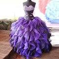 Roxo 2015 Quinceanera Vestidos Cristais Sparkly Frisada Vestidos De 15 Años Cascading Ruffles 2015 Sweet Girl 16 Dresses