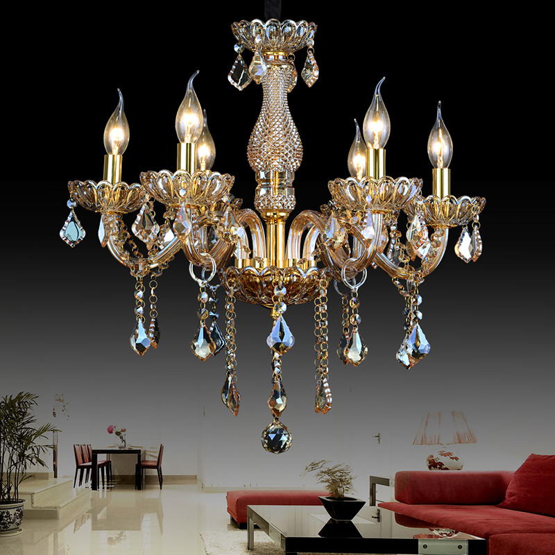 amber crystal Chandeliers lamp lustres de cristal Modern dining Living Room hotel Indoor light Decoration chandeliers lighting люстра на штанге arte lamp camilla a6094pl 3ba