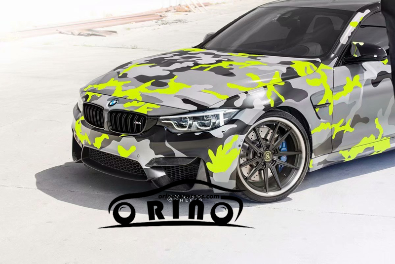 Black Yellow Grey Camouflage Vinyl Sticker Car Film Wrap With Air Bubble Adhesive Motorcycle Scooter Decal Wrapping ORINO WRAPS
