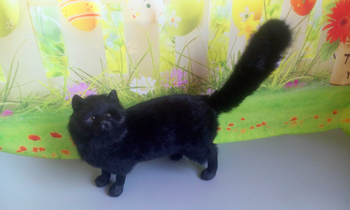 simulation animal large 30x25 cm lovely cat model,lifelike black cat  toy decoration gift t473 simulation animal large 30x25 cm lovely cat model lifelike white cat with long tail decoration gift t474