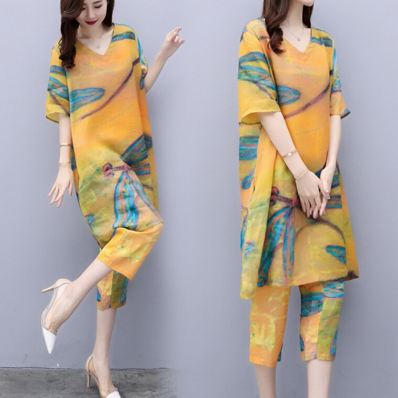 2019 Summer Chiffon Printed Two Piece Sets Outfits Women Plus Size Short Sleeve Long Tops And Cropped Pants Vintage Elgant Suits 30