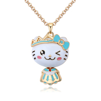 Long Sweater Chain Animal Necklaces & Pendants Cute Cat Kitty Jewelry Accessories Hot Selling Cheap Garment Jewellery Wholesale