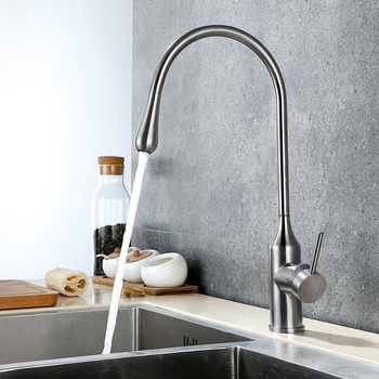 цена на kitchen faucet mixer cold and hot sink tap stainless steel brushed faucets home Water drop shape new design
