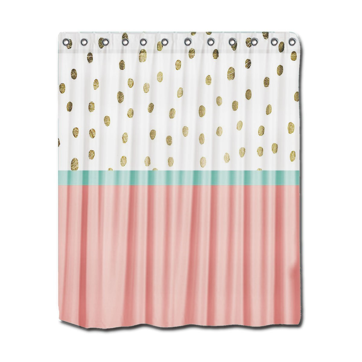 YYT Shower Curtains Coral Teal Color Block Gold Foil Polka Dots Curtain Stocked