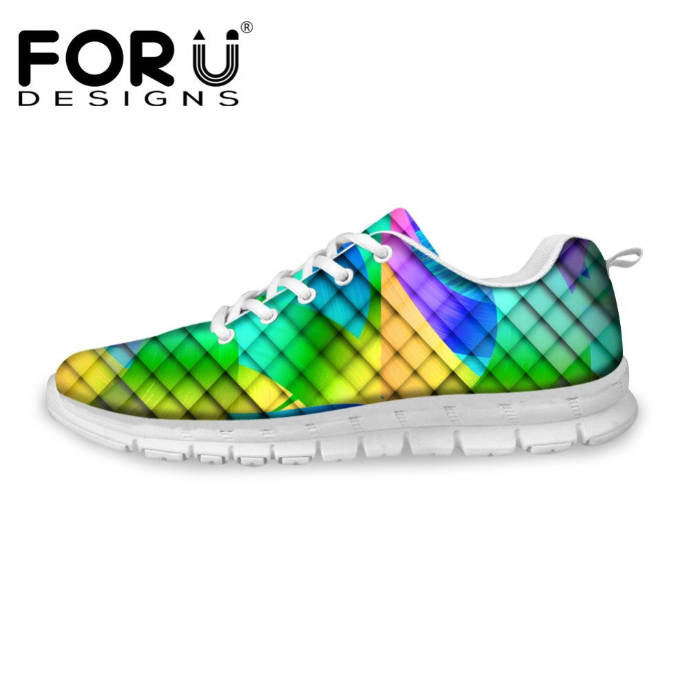 FORUDESIGNS Women Casual Flats Shoes 3D Geometry Pattern Autumn Fashion Flat Leisure Shoes for Ladies Teenage Girls Zapatos forudesigns sweet donuts pattern women autumn casual flat shoe fashion pink female breathable comfortable shoes for ladies flats