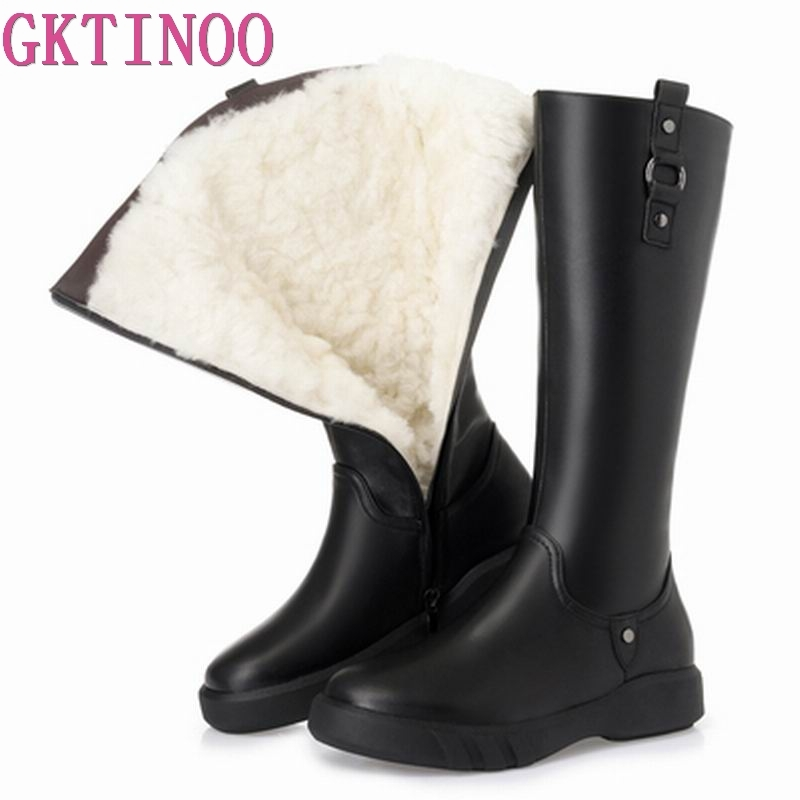 GKTINOO 2019 High Quality Natural Wool Knee High Boots Women Genuine Leather Zipper Simple Flat Shoes