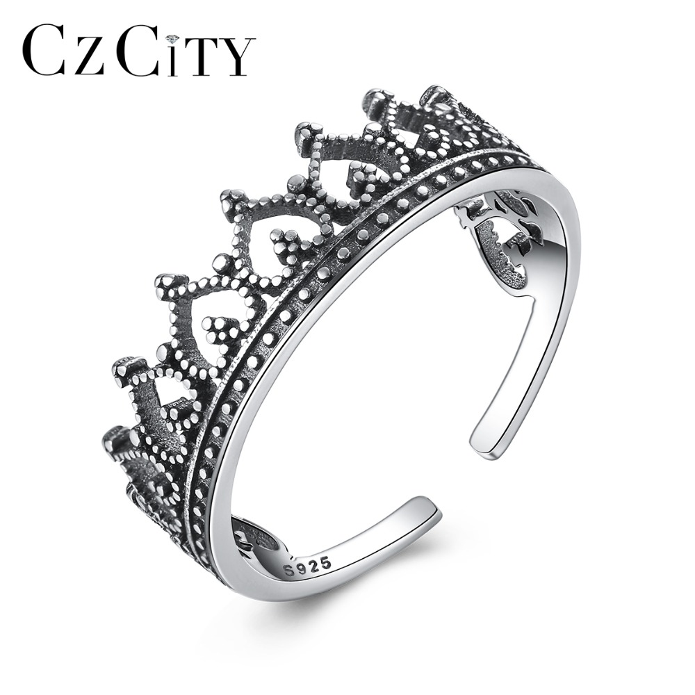 CZCITY Trendy 925 Sterling Silver Open Rings Female Romantic Heart Element Crown Design Vintage Fine Jewelry Valentine Day Gifts