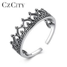 Anillos abiertos CZCITY de plata de ley 925, corazón romántico femenino, elemento de diseño de corona Vintage, joyería fina, regalos para el Día de San Valentín