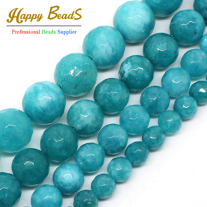 Wholesale Faceted Blue Stone 4mm 6mm 8mm 10mm 12mm Round Beads For Jewelry Making 15inches DIY Jewellery F00492