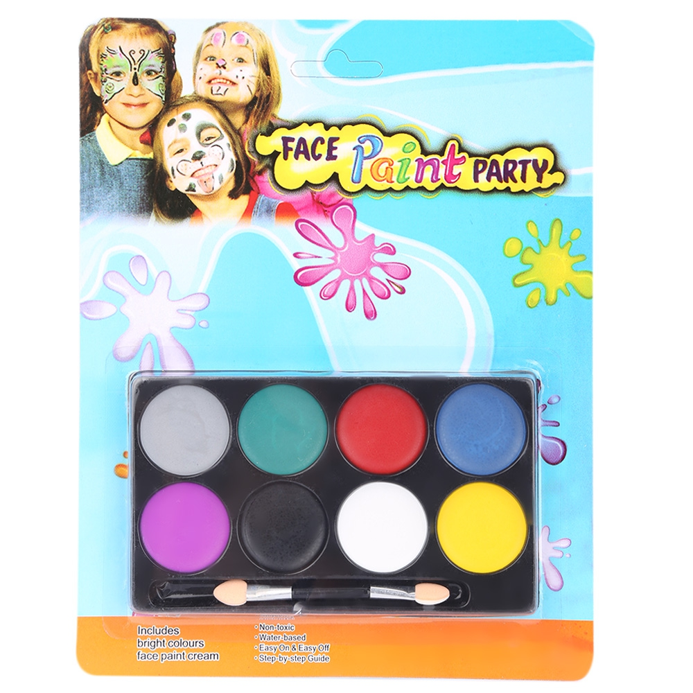 8 Color Primer Non-toxic Water Makeup Face Halloween Paint Color Devil Fans Easy to Wear For All Skin Types