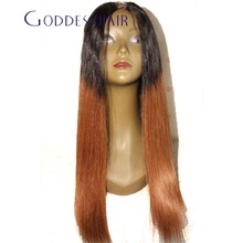 New Fashion Glueless Blonde Ombre Lace Wigs long straight  #1bT#30 Ombre U Part Wig two tone Ombre lace front wig full lace wig