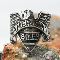 Mens Boys 316L Stainless Steel Cool Punk Gothic Cool America Biker Silver Ring