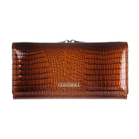 Cossroll Designer Design Handmade Leather Ms. Long Wallet Crocodile Head Layer Leather Wallet Clutch Purse