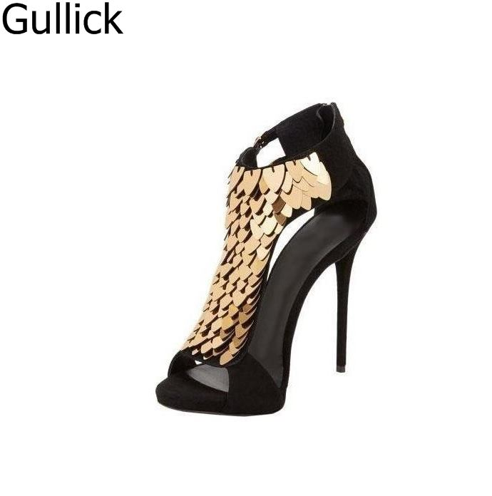 Women Black Red Flock Leather Sexy Gold Sequin-Embellished Sandals Summer Peep Toe Back Zipper Hollow Out High Heel Shoes rabbit fur charming white leather hollow out summer high heel sandals women back zipper peep toe ankle boots summer sandal boots