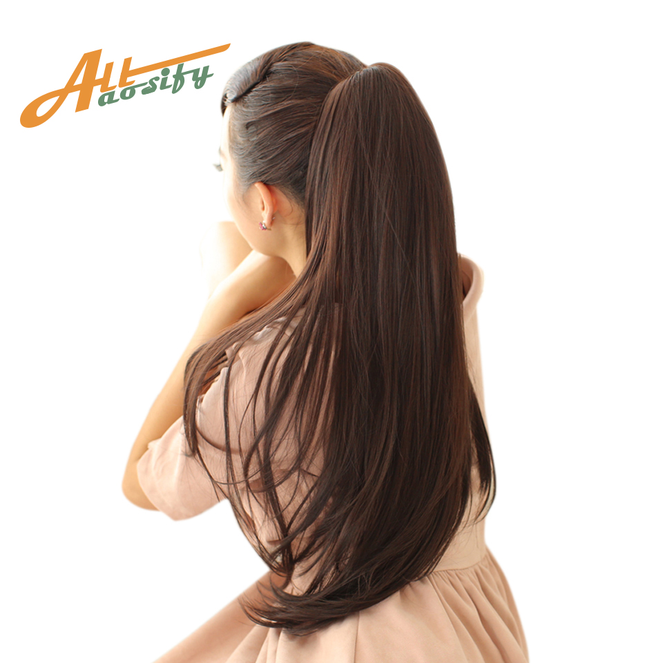 Allaosify 24'' Long Straight Ponytails Clip In Ponytail Heat Resistant Clip In Hair Extensions Hair Tail Fake Hairpieces
