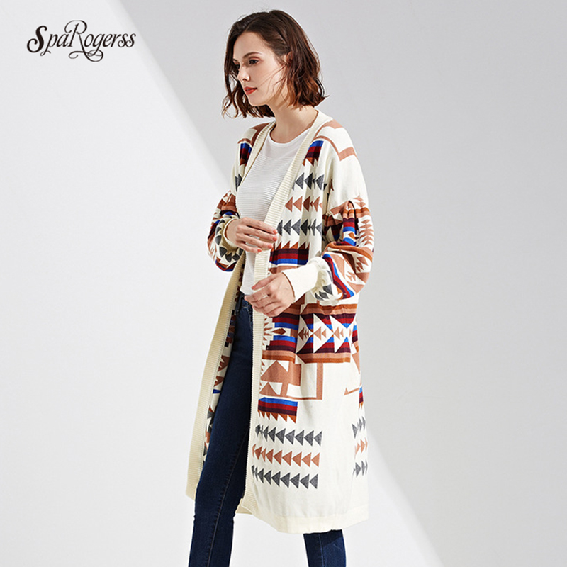 SpaRogerss Spring Winter Ladies New Sweater Coat Long Jacket Fashion Geometric Print Cardigan Sweater Jacket Female Tops Outwear ...