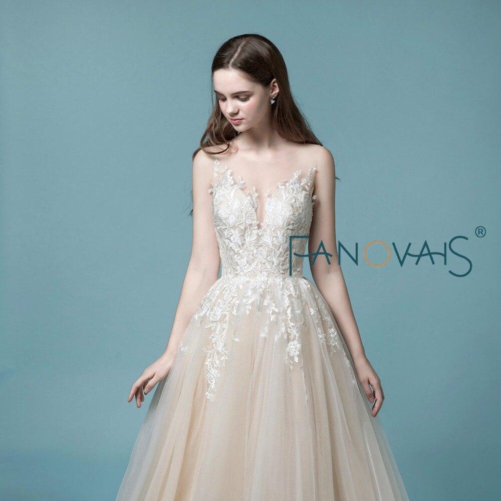 Light Champagne Lace Wedding Dress Beach Light Bridal Gowns Elegant ...