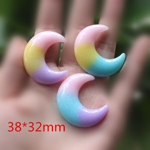10pcs/lot Flat back resin moon mix colors with glitter DIY resin cabochons accessories(China)