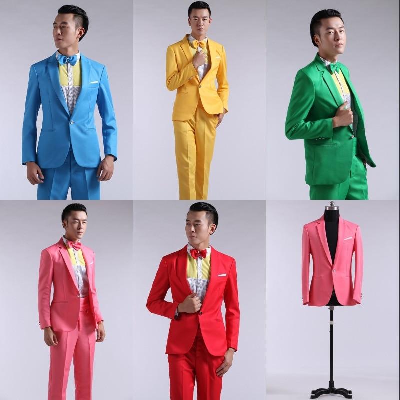 Jacket Pants) suit men colorful suits wedding dress hosted suits ...