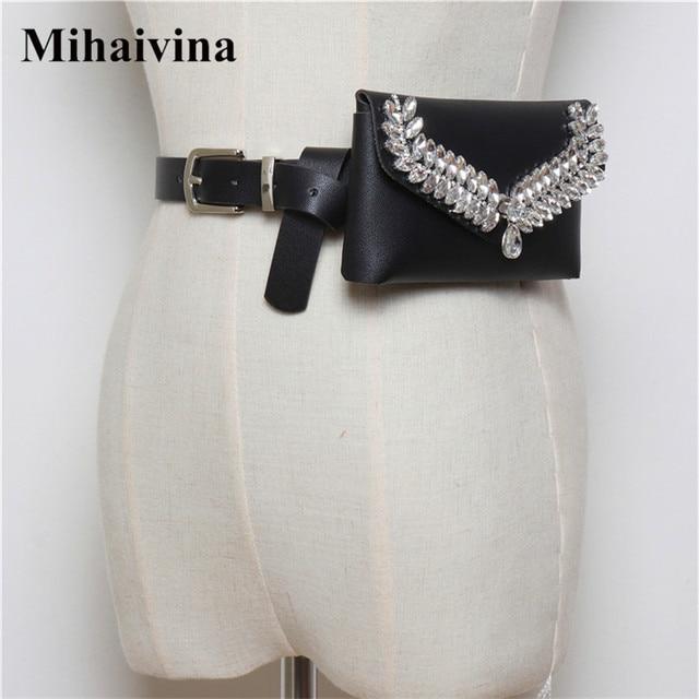 Mihaivina Fashion Diamonds Waist Bag Women Fanny Packs Belt Bag Luxury Brand Money Phone Waist Pack Pouch Female Bum Bag Purse