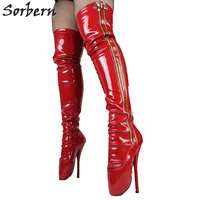 Sorbern пользовательские широкие икры 7 в на очень высоком каблуке красные балетные сапоги облегающие Ботфорты сапоги высокий каблук Фетиш сек