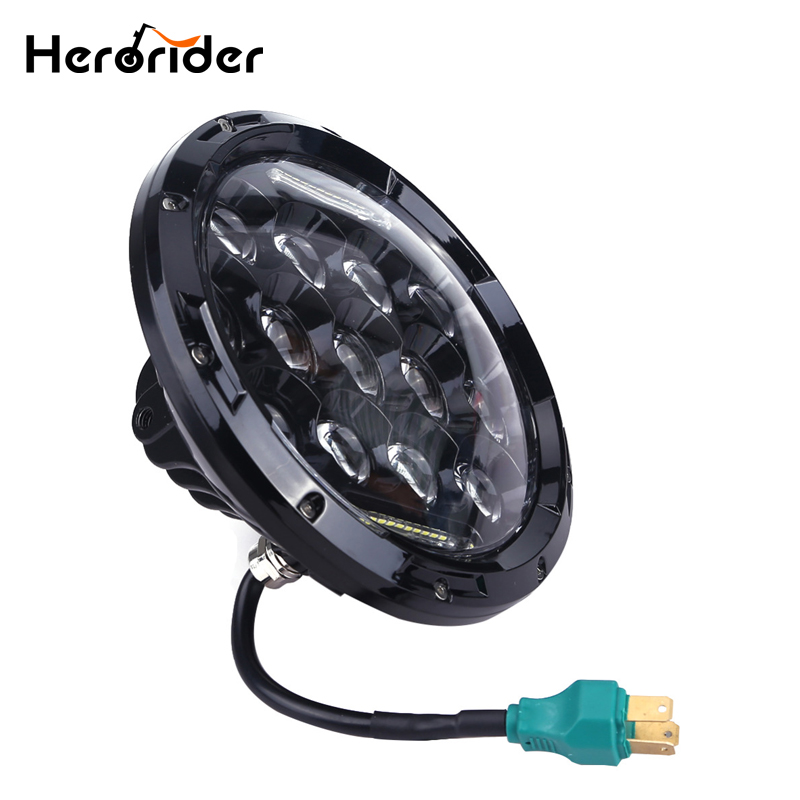 Herorider 75w 7 Headlight Motorcycle Black high Low Beam 7inch Round Daymaker LED Head light Head Lamp DRL For Harley Davidson 7inch motorcycle daymaker replacement led headlight