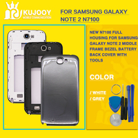 New N7100 Full Housing For Samsung Galaxy Note 2 Middle Frame Bezel Battery Back Cover With