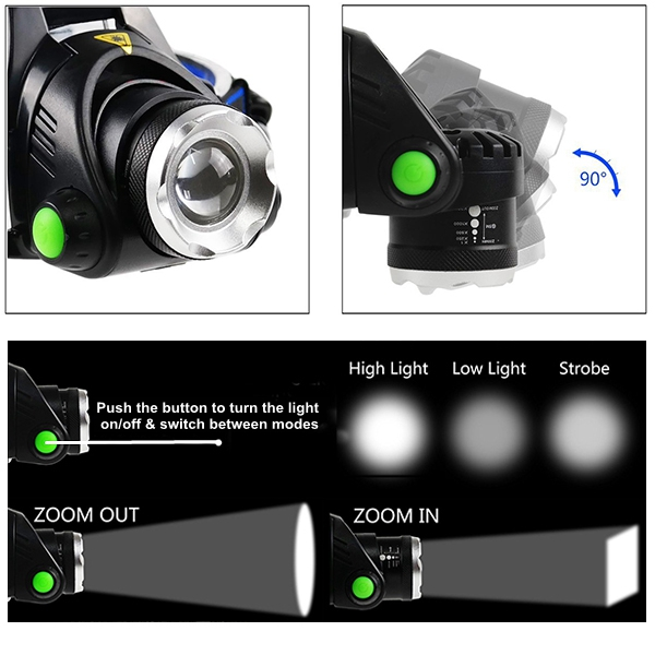 [FREE SHIP] High Power Green Light Rechargeable Head Torch 10W LED White or Green Beam Hunting Headlamp