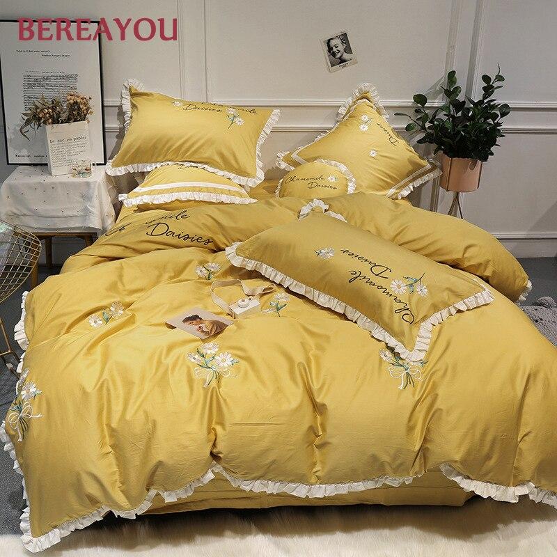 4/6/7pcs Comforter Bedding sets 60S Cotton Satin Embroidery Bed Linen Pillowcase Queen King Size Kids Duvet Cover Set