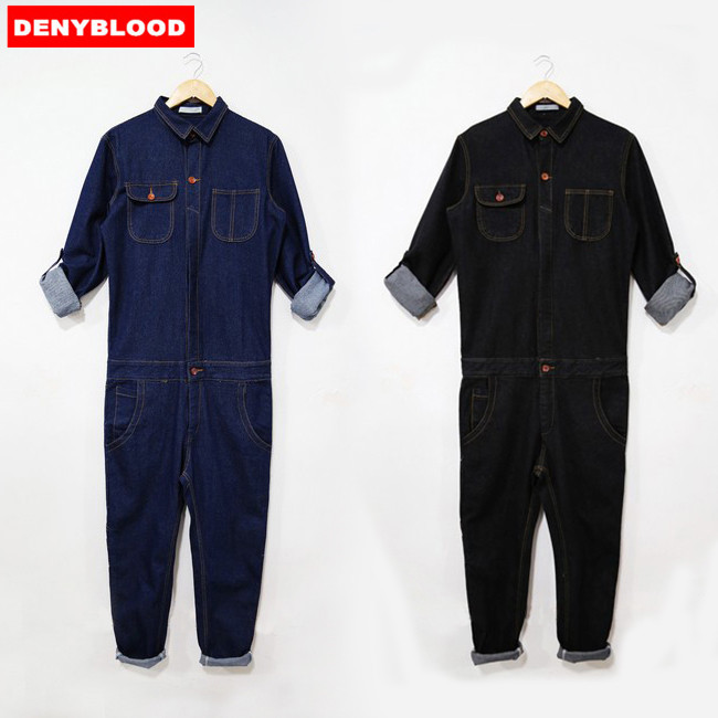Mens Denim Jumpsuit New Fashion Denim Overalls Men Full Sleeve Slim Fit Jumpsuits Working Clothes Cool Male Overalls MDB02 2016 brand mens denim overalls fashion bib jeans skinny overalls for men hole slim black and white suspender pants m xxl