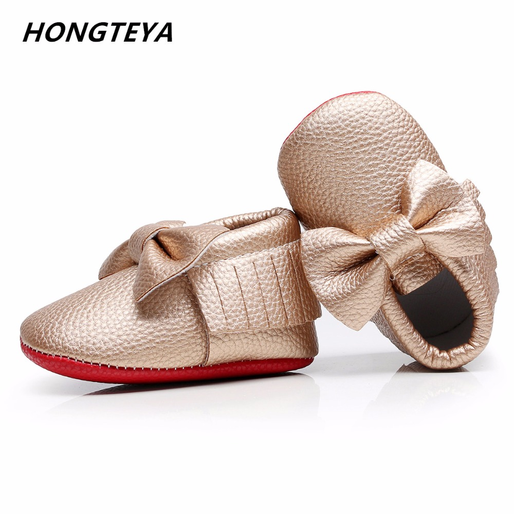 Hongteya Handmade Soft Red Bottom Baby Moccasin Newborn Fashion Knot Baby Shoes PU Leather Prewalkers Boots