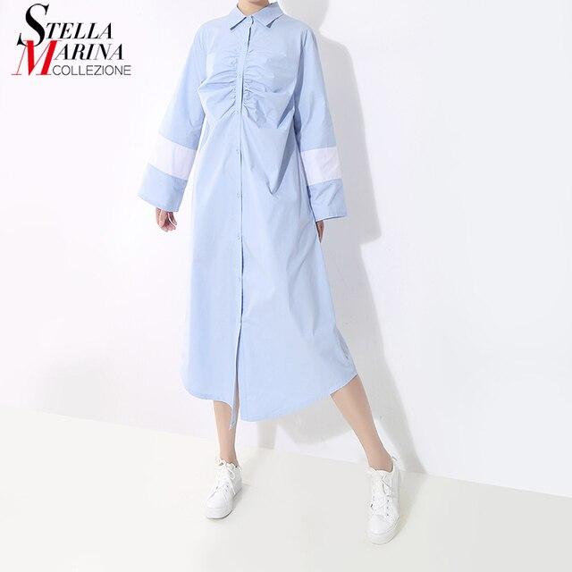 2019 Coreano Delle Donne di Stile Blu Nero Abito Camicia A Maniche Lunghe di  Lunghezza Del Ginocchio Femminile Casual Street Wear Dress Vestodos Più Il  ... 72857e1fec5