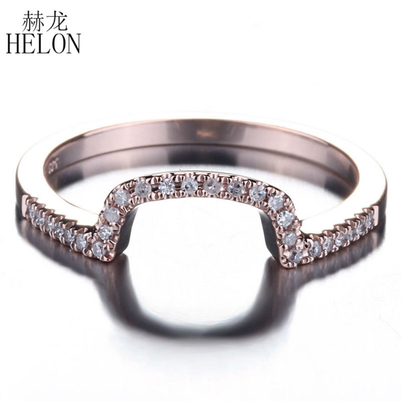 HELON Solid 14K Rose Gold Brilliant 0.12ct Natural Diamonds Engagement Wedding matching band Womens Fine Jewelry RingHELON Solid 14K Rose Gold Brilliant 0.12ct Natural Diamonds Engagement Wedding matching band Womens Fine Jewelry Ring