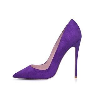 Image 3 - GENSHUO Faux Suede Pointed Toe Stilettoรองเท้าส้นสูงปั๊มตื้นSLIP ON Stilettoรองเท้าส้นสูงรองเท้าจัดงานแต่งงานสีม่วงสีฟ้าสีน้ำตาล