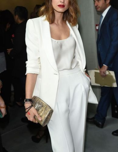 White Women Ladies Business Office Tuxedos Formal Fashion Work Wear Suit Bespoke Women Pant Suits