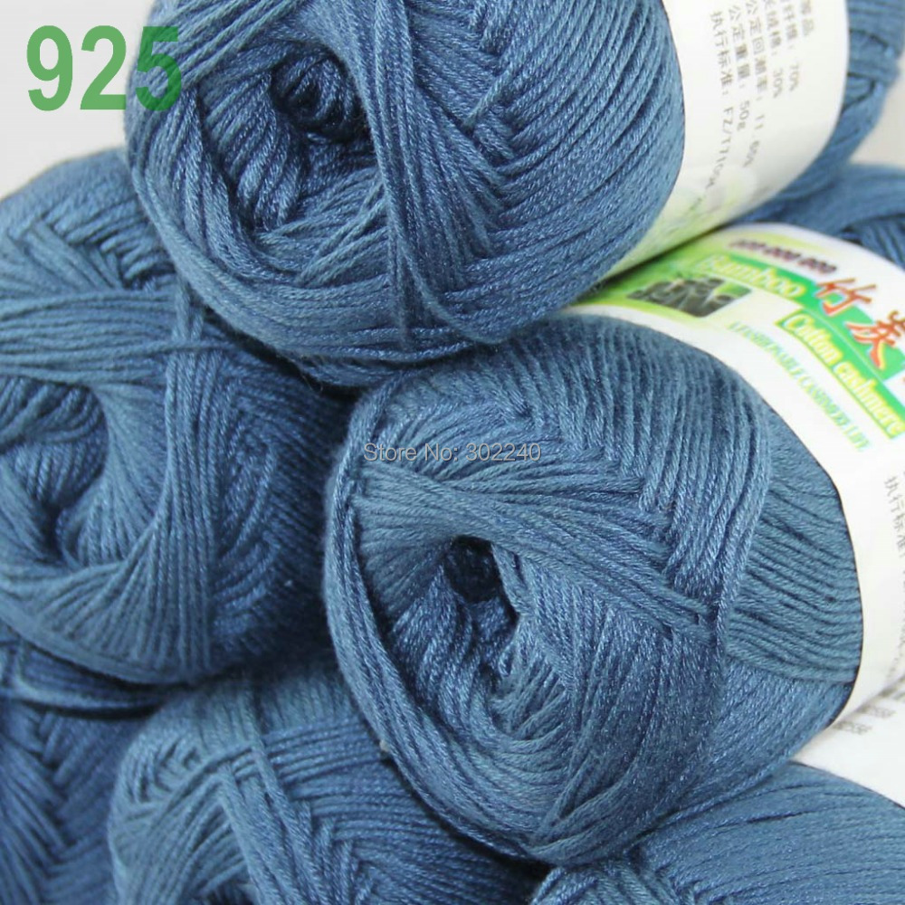 Lot of 6 Skeins Super Soft Natural Bamboo Cotton Knitting Yarn Steel - Arts, Crafts and Sewing - Photo 2