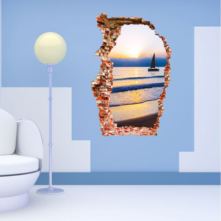 New The Sea Canoe Sunset 3d Wall Stickers Home Decor Creative Realistic Stereo Effect Removable Art