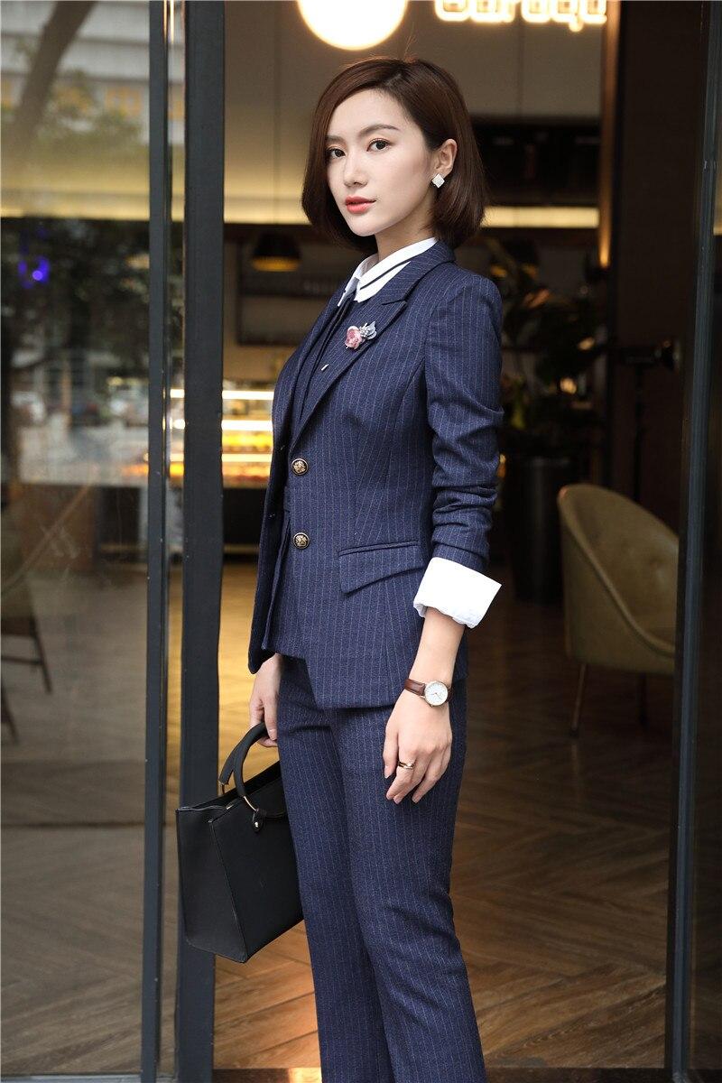 Pantalon Striped Manteau Striped Femmes Blouses Rayé Dark Blazer Tissu De Pour Pièces Veste 6xl 4 Costumes Mode D'affaires Qualité Haute black Blue vFq8xw1HH