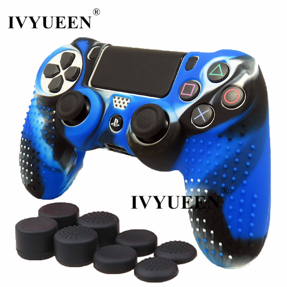 IVYUEEN New Version for Sony Dualshock 4 PS4 Pro Slim Controller Silicone Skin Case + Thumbsticks Grips Caps for Playstation 4