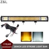 26INCH OFFROAD LED LIGHT BAR 10 30V STROBE FLASH WARING LAMP CAR BOAT ATV UTE RZR WAGON NIGHT FLASHING INDICATOR AUXILIARY LAMP