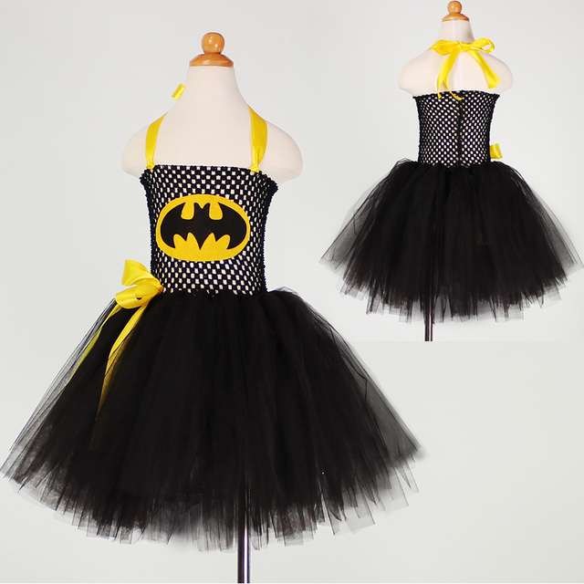 e8b1103a2 Batman Cosplay Traje de Halloween Para Niños Tulle Tutu Vestido de Niña de  Navidad Fiesta de