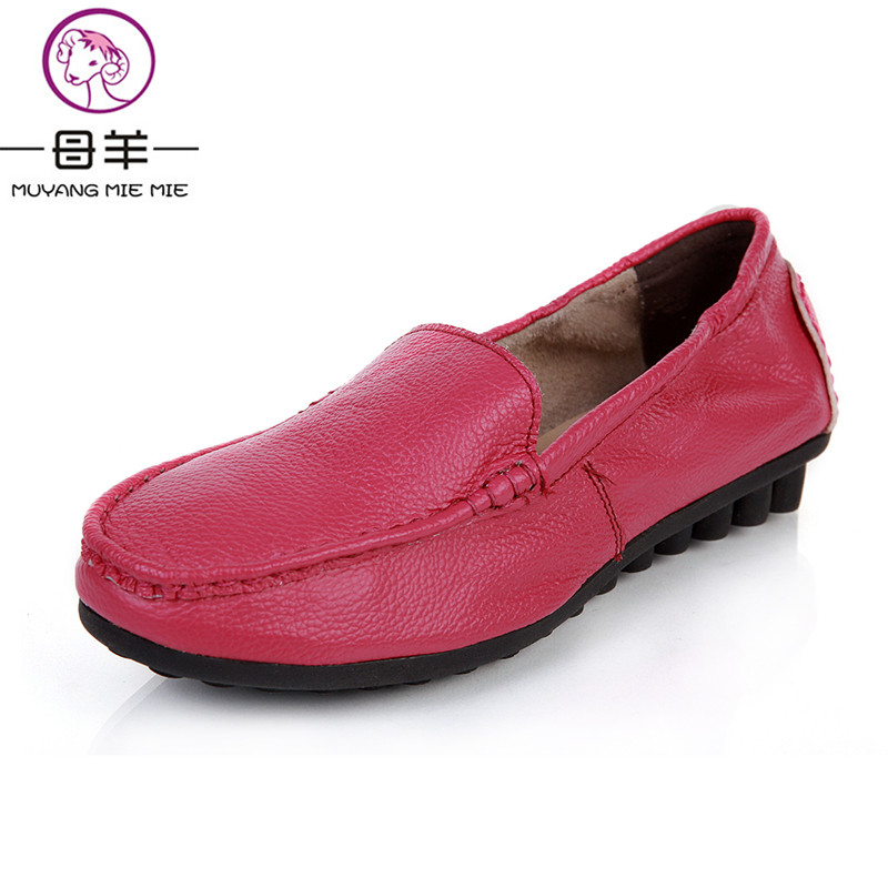 ФОТО MUYANG MIE MIE Fashion loafers 2017 women shoes genuine leather single shoes female casual flat work shoes women flats
