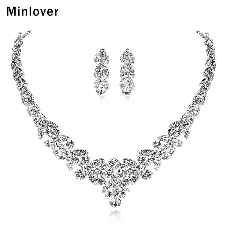 Minlover Luxurious Silver Color Crystal Bridal Jewelry Sets Leaf Shape Choker Necklace Earrings Wedding Jewelry for Women TL206 newbark silver color cubic zircon bridal jewelry necklace leaf shape rhinestone choker necklaces for women wedding