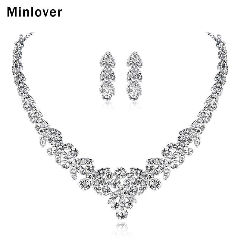 Minlover Luksuzni srebrni barvni kristalni nakit za poročne obleke - Modni nakit - Fotografija 1