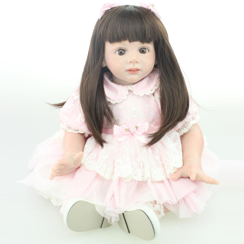 55-60CM New Design Silicone Reborn Child Dolls Candy Lady Puzzle Toys Actual Light Contact Rooted Human Hair With Pink Gown Accumulate