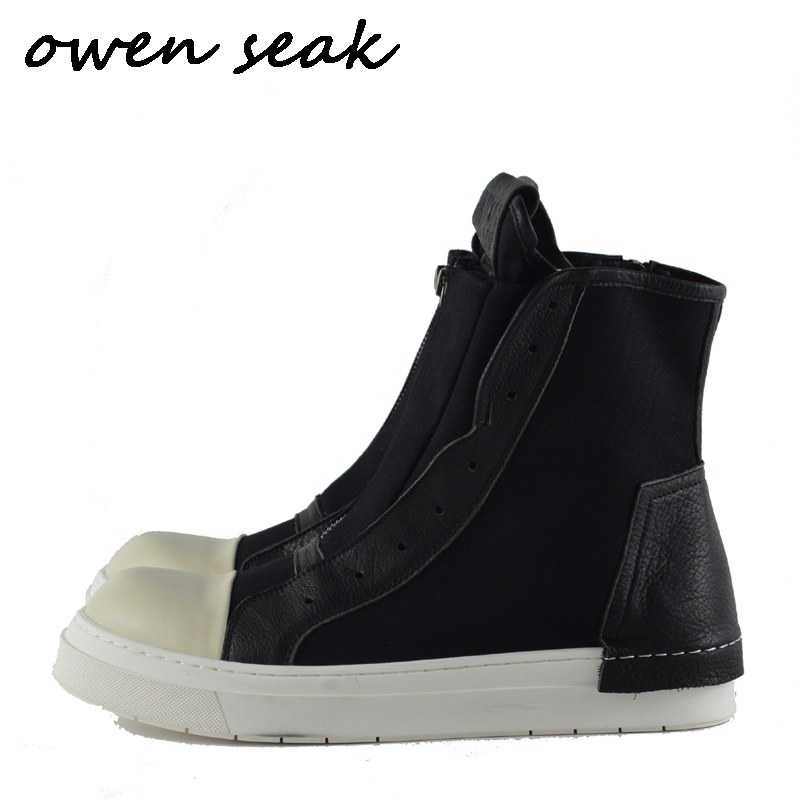 Owen Seak Men Canvas Shoes Fashion Luxury Trainers Leather Ankle Boots Casual Sneaker Brand Zip High