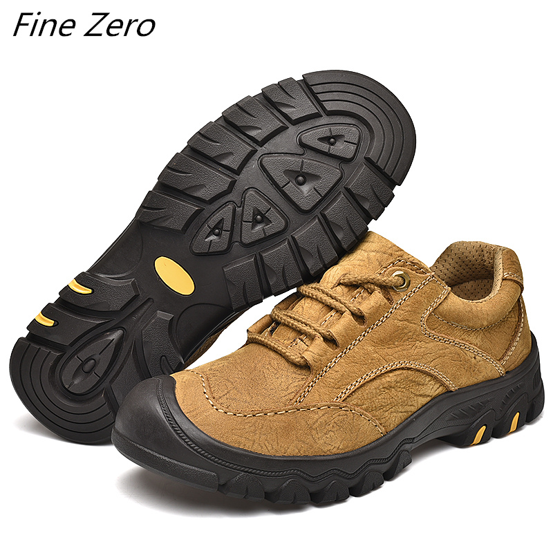 New Arrival Classics Style Men's Hiking Shoes Lace Up Men Sport Shoes Genuine Leather Outdoor Non-Slip Trekking Hunting Sneakers