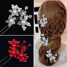 Fooderwerk Jewery New Handmade Red White Colors Bride Wedding Hair comb Pin Flower Bridal Hair Accessories(China)