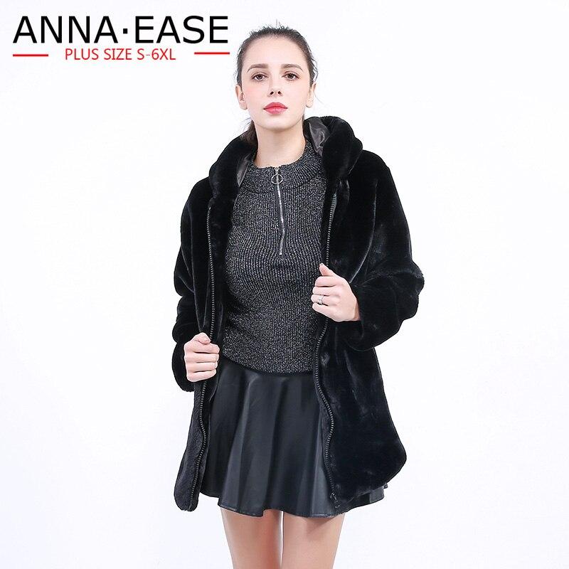 Fausse Vestes De Noir 2018 Fourrure Manteau Pour En Veste À Taille Capuchon D'hiver Plus Manteaux La Et Hiver Femmes Long PFwn5x4Iw