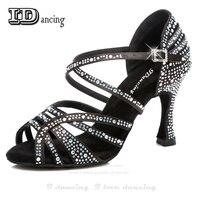 Jazz Shoes Dance Latin Dancing Rhinestone Salsa Latin Shoes Sneakers Dance Shoes Black Full Diamond Dance Shoes IDancing